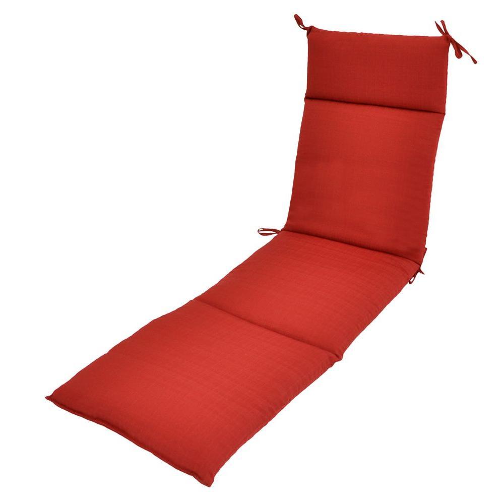 Hampton Bay Geranium Textured Outdoor Chaise Lounge Cushion