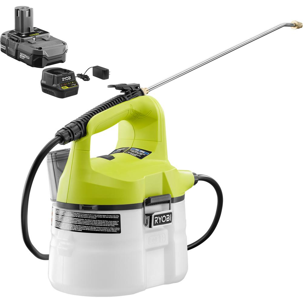 RYOBI ONE+ 18-Volt Lithium-Ion Cordless Chemical Sprayer 1-Gal. - 1.3 Ah Battery and Charger Included