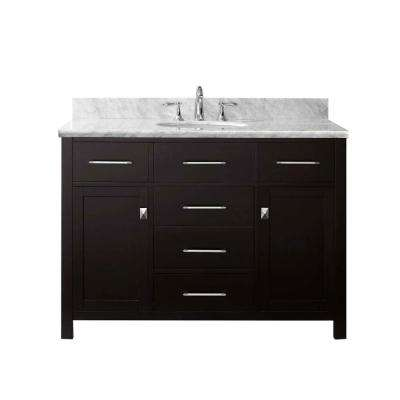 Caroline 49 in. W Bath Vanity in Espresso with Marble Vanity Top in White with Square Basin and Faucet