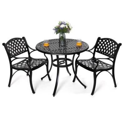 Antique Bronze 3-Piece Cast Aluminum Dining Set Outdoor Furniture Set with 36 in. Round Table and 2 Arm Chairs