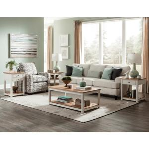 Savannah Ivory with Natural Wood Top 45 in. Wide Coffee Table