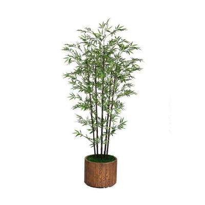 77 in. Tall Banana Tree with Real Touch Leaves in 16 in. Fiberstone Planter