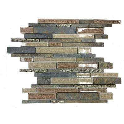Olive Branch Slate Glass and Stone Mosaic Tile - 3 in. x 6 in. Tile Sample