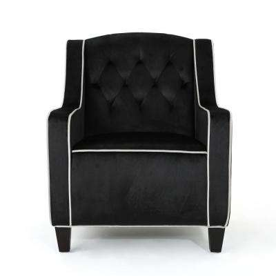 Giada Tufted Black New Velvet Club Chair with Pearl Accents
