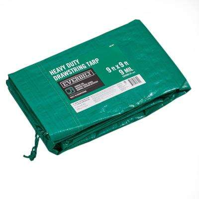 9 ft. x 9 ft. Green Heavy Duty Drawstring Tarp