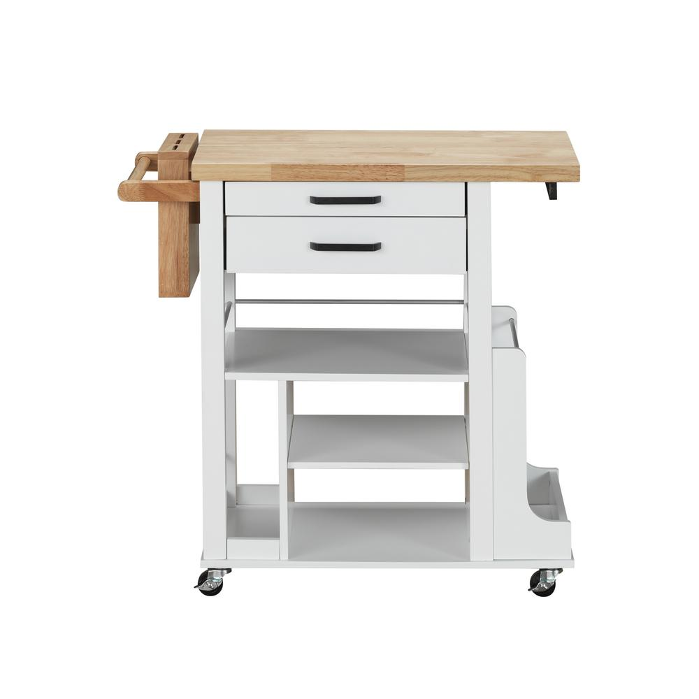 Acme Furniture Zillah Natural And White Kitchen Cart