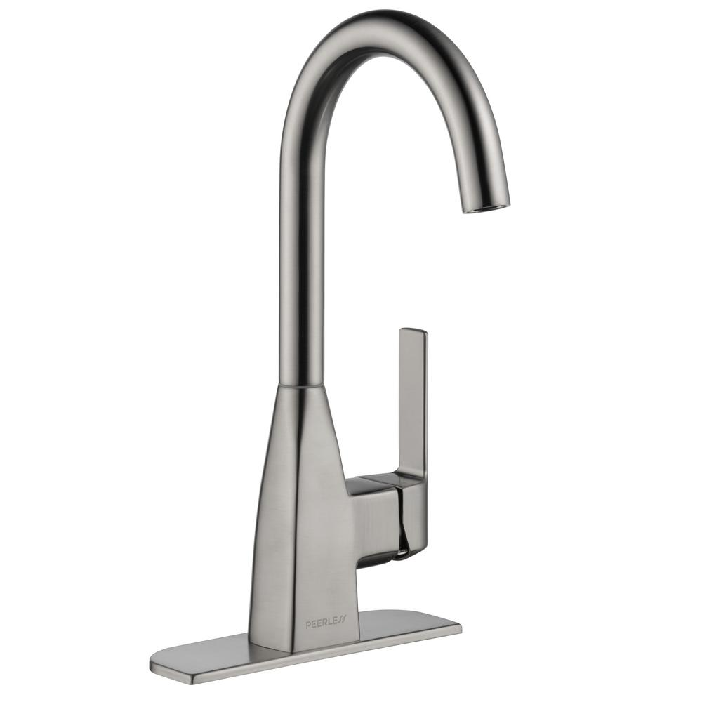 Secondary Faucet KOHLER 360 Degree Swing Spout Bar Faucet Entertainment Faucet Single-Handle Single Hole Prep Faucet Vibrant  Brushed Stainless K-22034-VS