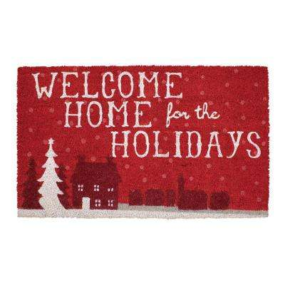 Welcome Home Holidays 18 in. x 30 in. Coir Holiday Mat