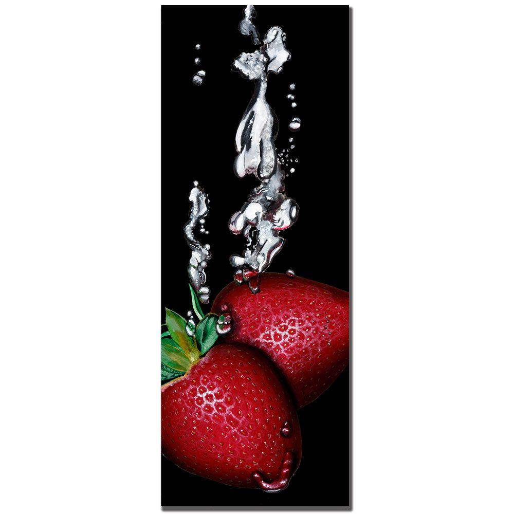 Trademark Fine Art 12 in. x 32 in. Strawberry Splash - Black - by Roderick Stevens Canvas Art