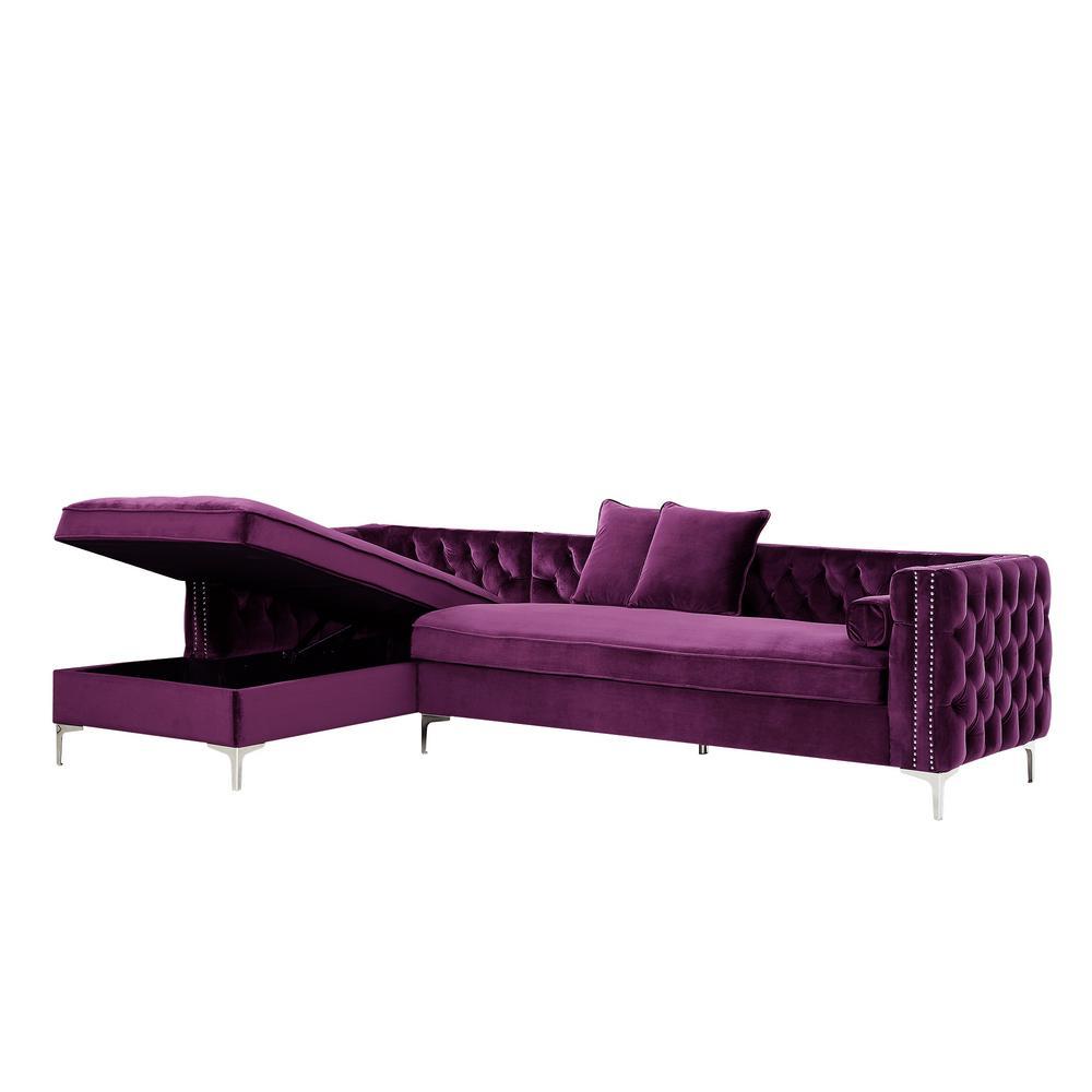Fabulous Inspired Home Olivia Purple Silver Velvet Left Facing Ncnpc Chair Design For Home Ncnpcorg
