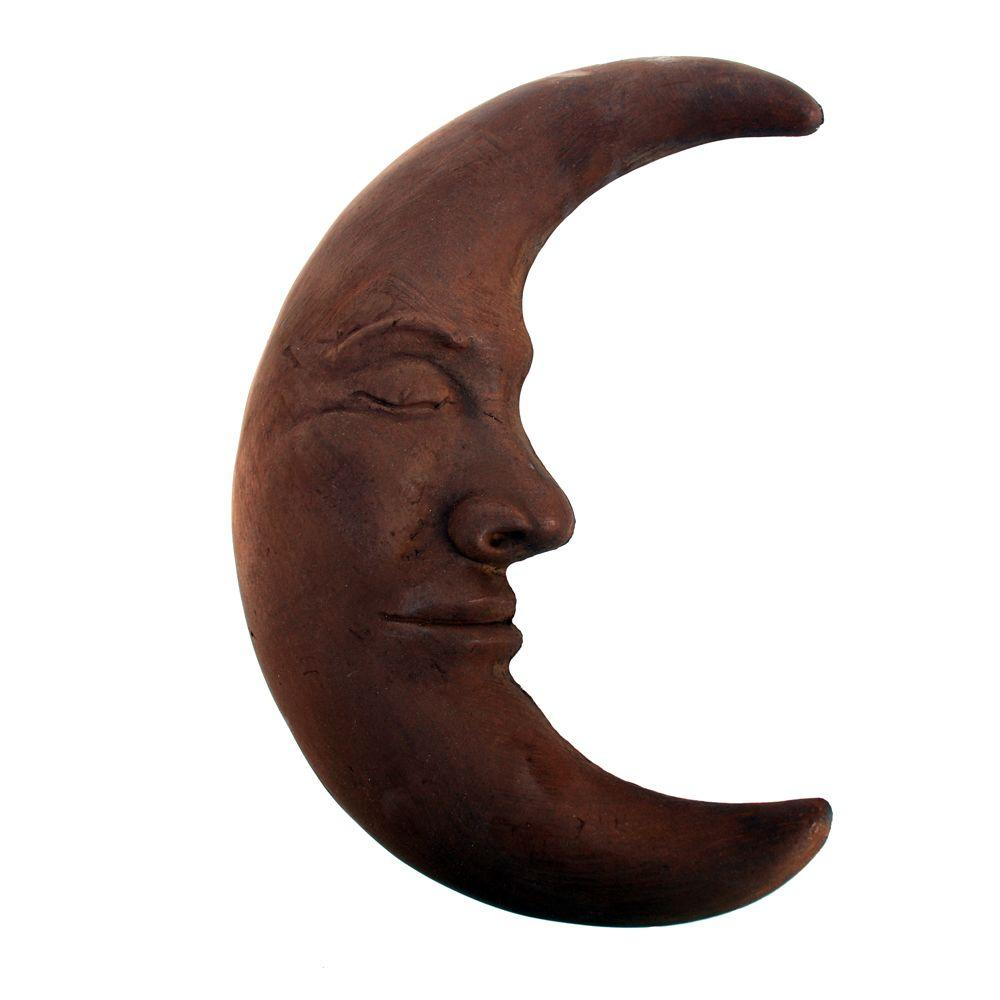 Cast Stone Large Moon Plaque - Dark Walnut