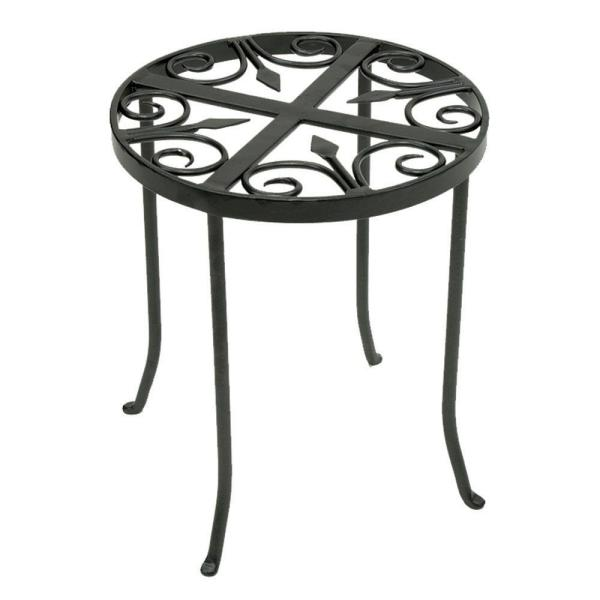 14 in. Tall Graphite Powder Coat Iron Round Trivet Plant Stand