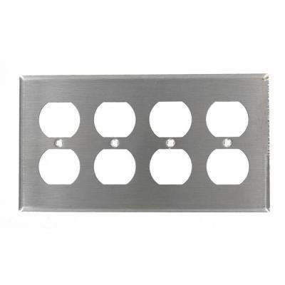 4-Gang 4 Duplex Receptacles, Standard Size Wall Plate - Stainless Steel
