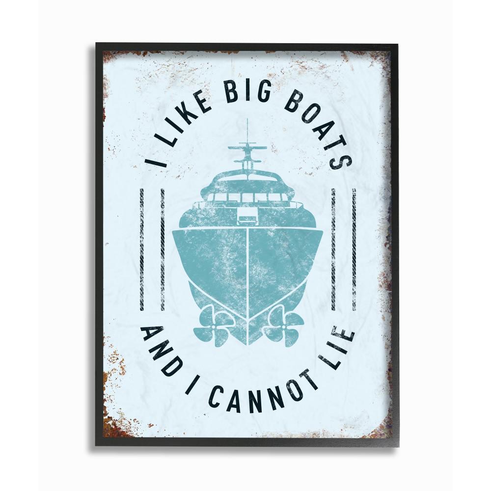 "11 in. x 14 in. ""I Like Big Boats Funny Ocean Beach Typography"" by JJ Brando Printed Framed Wall Art"