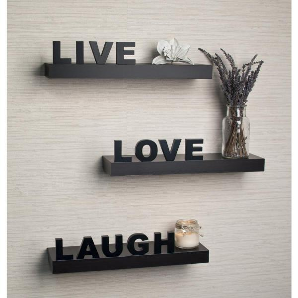 Danya B 15 In X 3 25 In Black Decorative Live Love Laugh Floating Wall Shelves Set Of 3 Yu075 The Home Depot