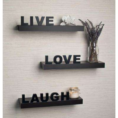 """15 in. x 3.25 in. Black Decorative """"Live"""" """"Love"""" """"Laugh"""" Floating Wall Shelves (Set of 3)"""