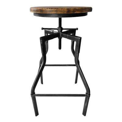 Averly Industrial 27-33 in. Silver Brushed Gray Adjustable Barstool with Rustic Ash Wood Seat