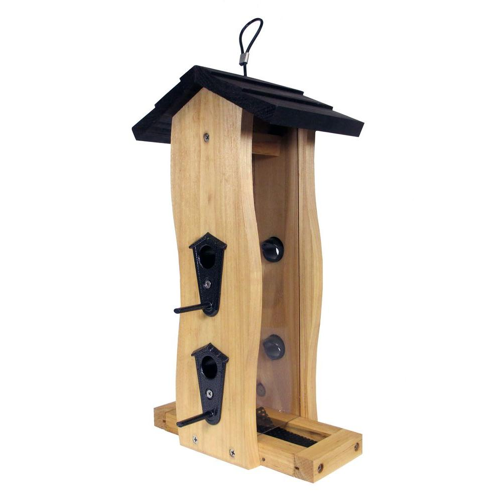 Cedar Vertical Wave Bird Feeder