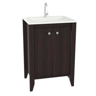 25 in. W x 19 in. D Bathroom Vanity in Espresso Wengue with Vanity Top in White and White Basin