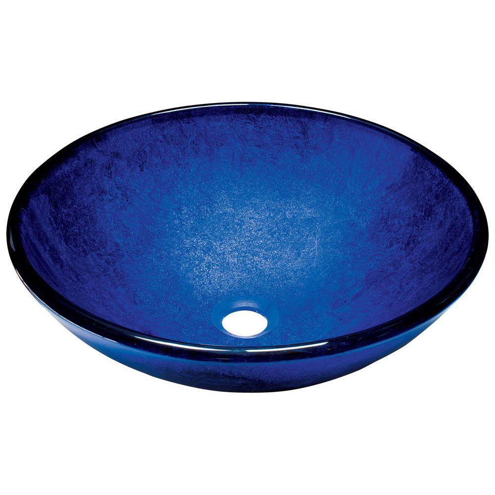 Glass Vessel Sink in Foil Undertone Royal Blue