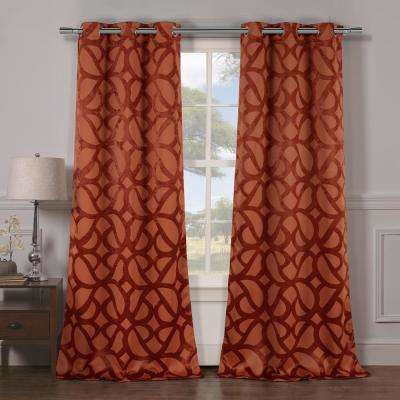 Charlotte 38 in. x 84 in. L Polyester Blackout Curtain Panel in Rust (2-Pack)