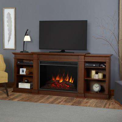 Eliott Grand 81 in. Electric Fireplace TV Stand Entertainment Center in Vintage Black Maple