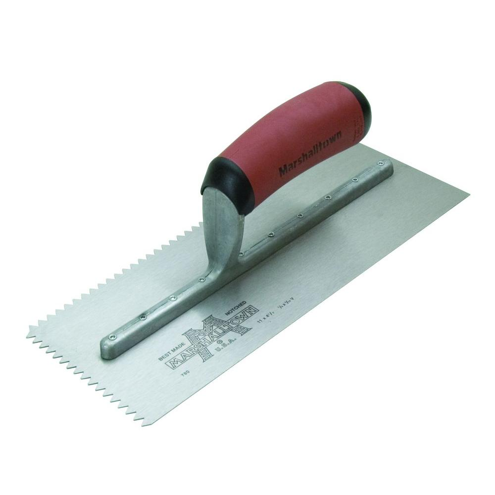 Notched Trowels Home Depot : Marshalltown in v notch trowel durasoft