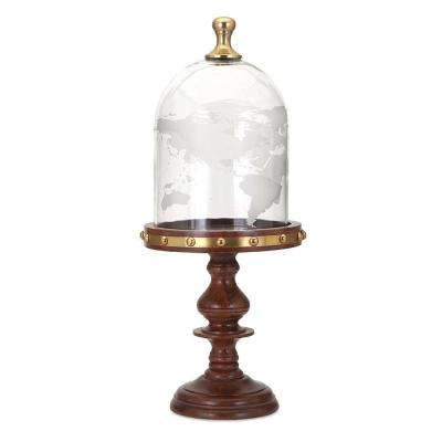 19 in. Cherry Wood Globe Cloche with Wood Base
