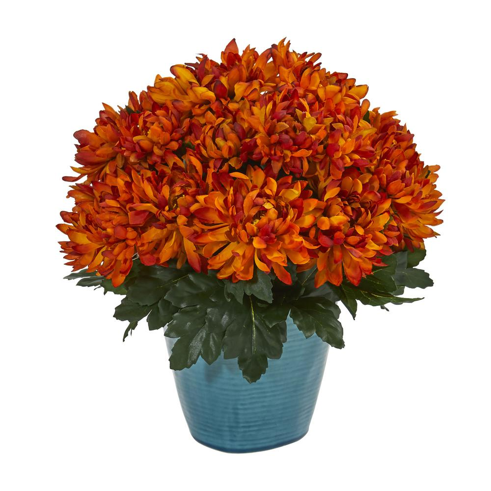 Nearly Natural Indoor Spider Mum Artificial Plant In Teal