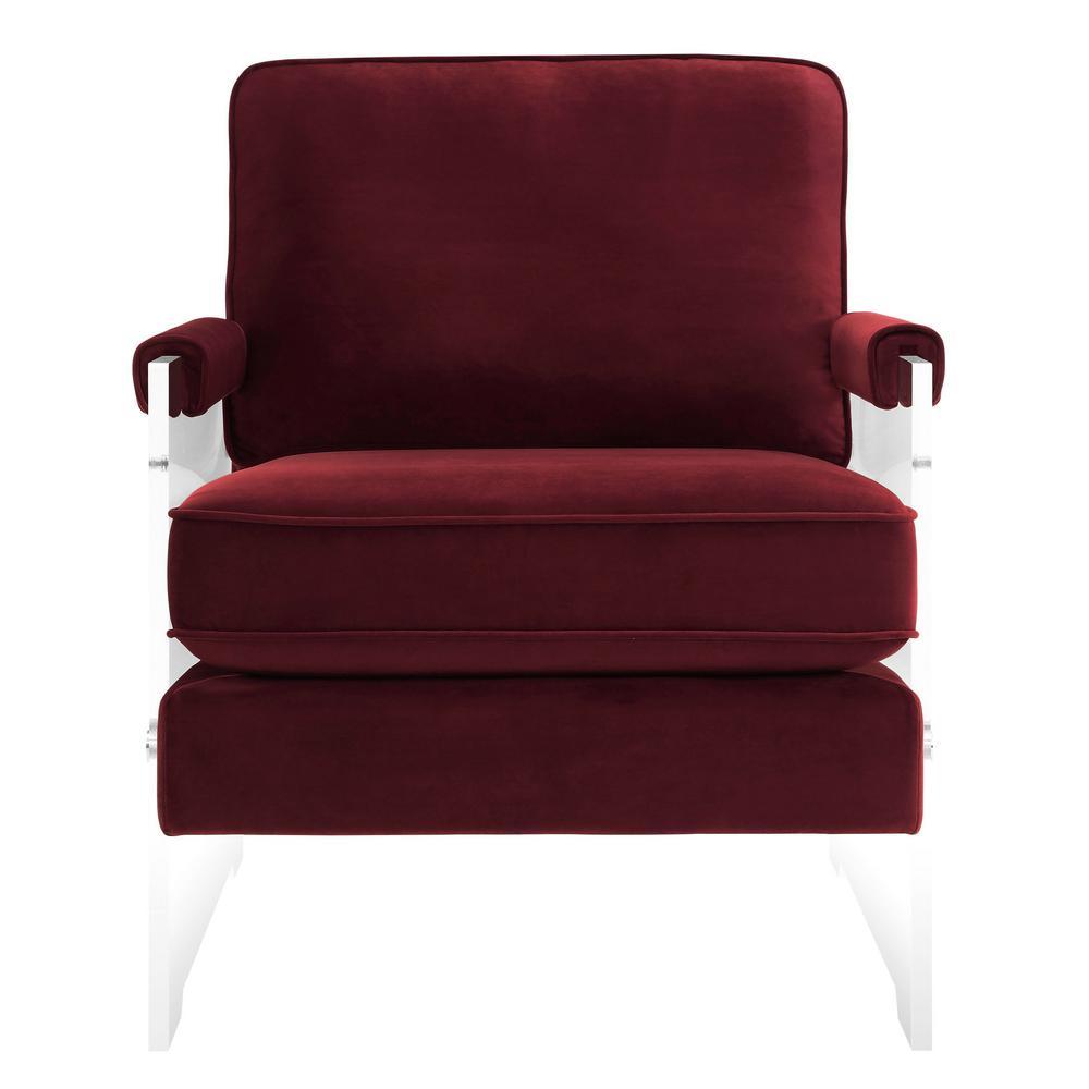 Serena Burgundy Velvet/Lucite Chair