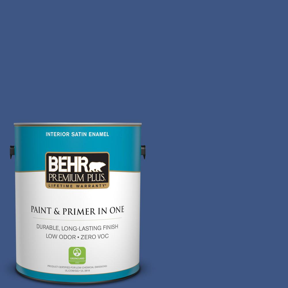 1-gal. #600B-7 Yacht Club Blue Zero VOC Satin Enamel Interior Paint