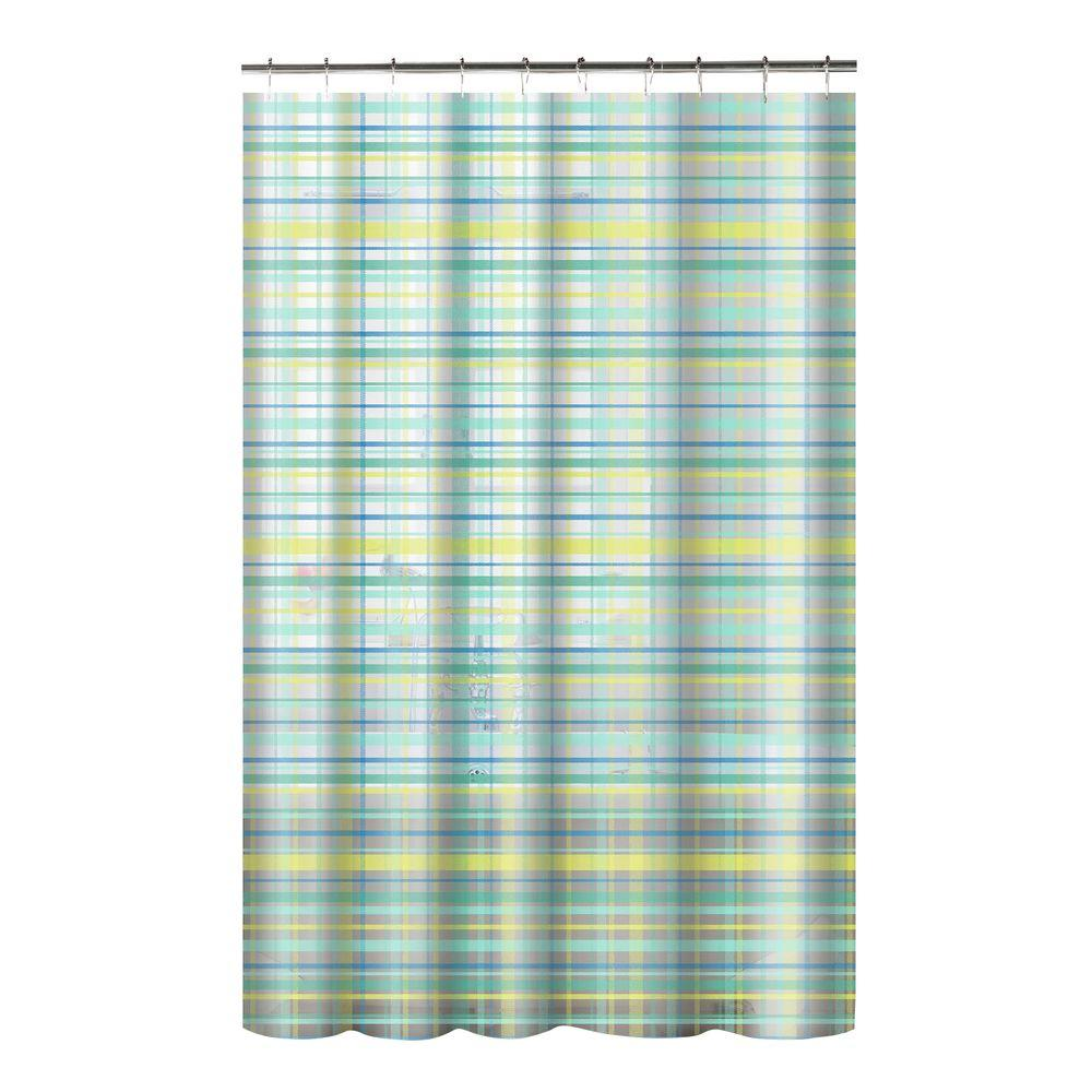 Printed PEVA Plaid 70 In W X 72 L Shower Curtain With Metal Roller Hooks Green