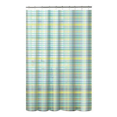 Printed PEVA Plaid 70 in. W x 72 in. L Shower Curtain with Metal Roller Hooks in Green