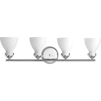Fuller Collection 4-Light Polished Chrome Bathroom Vanity Light with Glass Shades