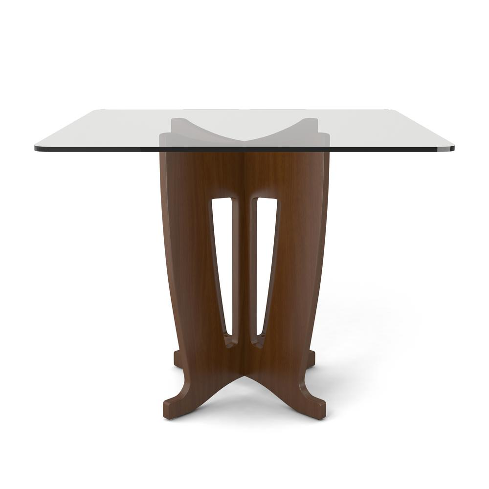 Jane 39.32 in. Nut Brown Sleek Tempered Glass Table Top