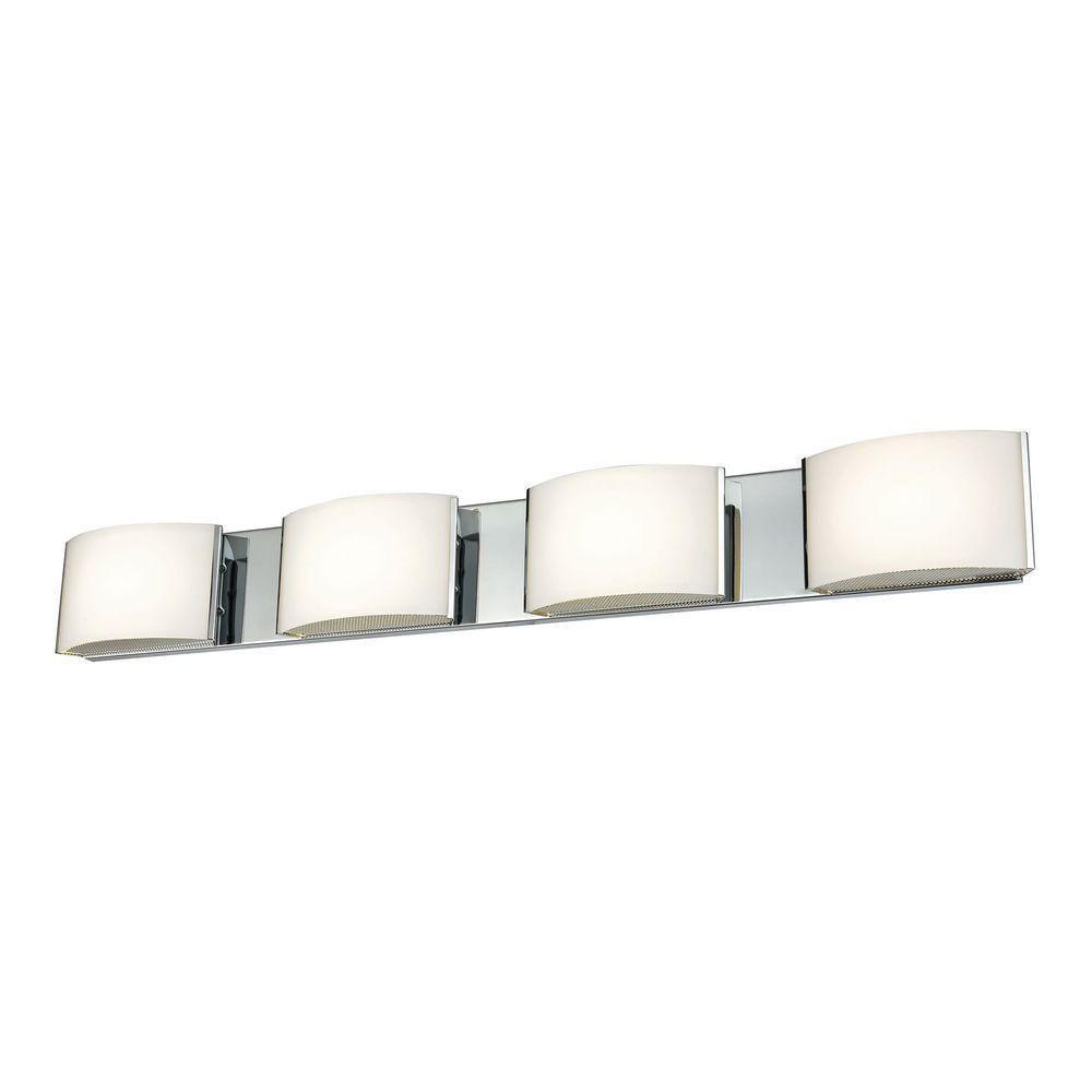 427f882bf Titan Lighting Pandora 4-Light Chrome and Opal Glass LED Vanity Light