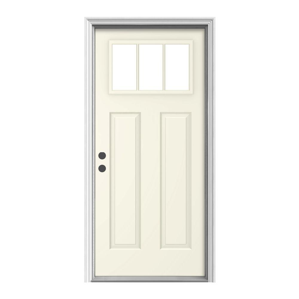 Jeld wen 36 in x 80 in craftsman vanilla painted right for Jeld wen front entry doors