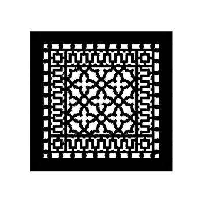 Scroll Series 14 in. x 14 in. Cast Iron Grille, Black without Mounting Holes