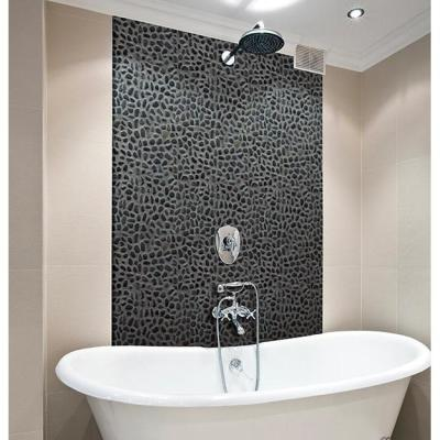 12 in. x 12 in. Black Sliced High-Polish Pebble Stone Floor and Wall Tile (5.0 sq. ft. / case)