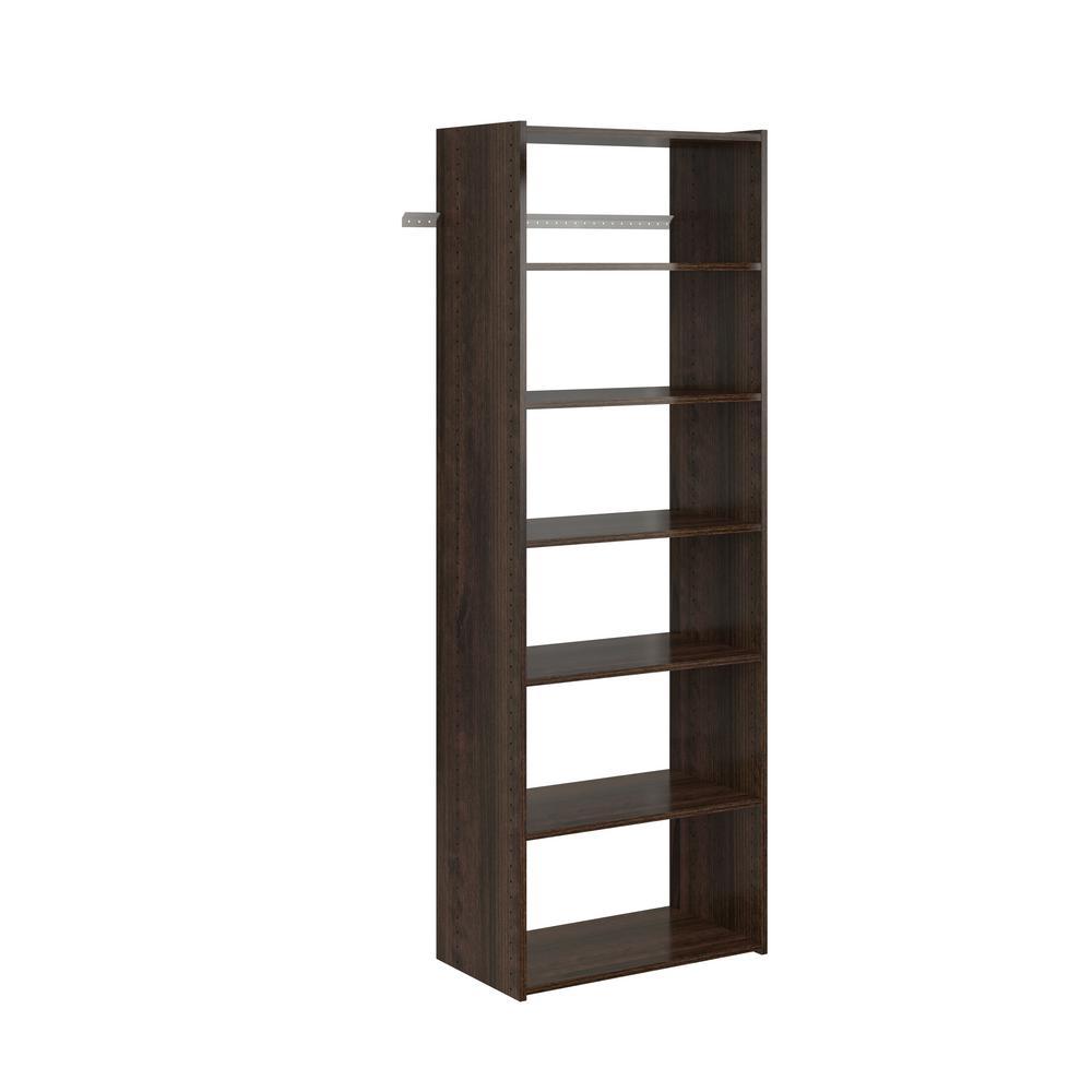 14 in. D x 25.125 in. W x 72 in. H Espresso Wood Essential Shelf Closet System Tower Kit