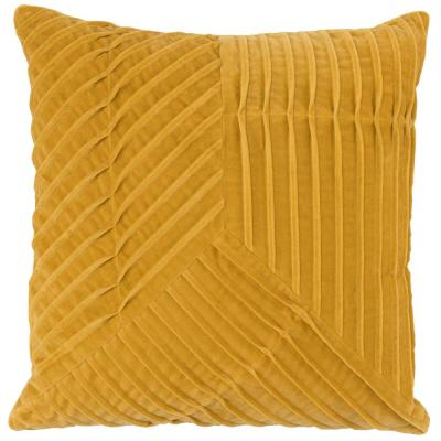Renee Cotton Velvet 20 in. x 20 in. Square Solid Pleated Sunflower Decorative Pillow