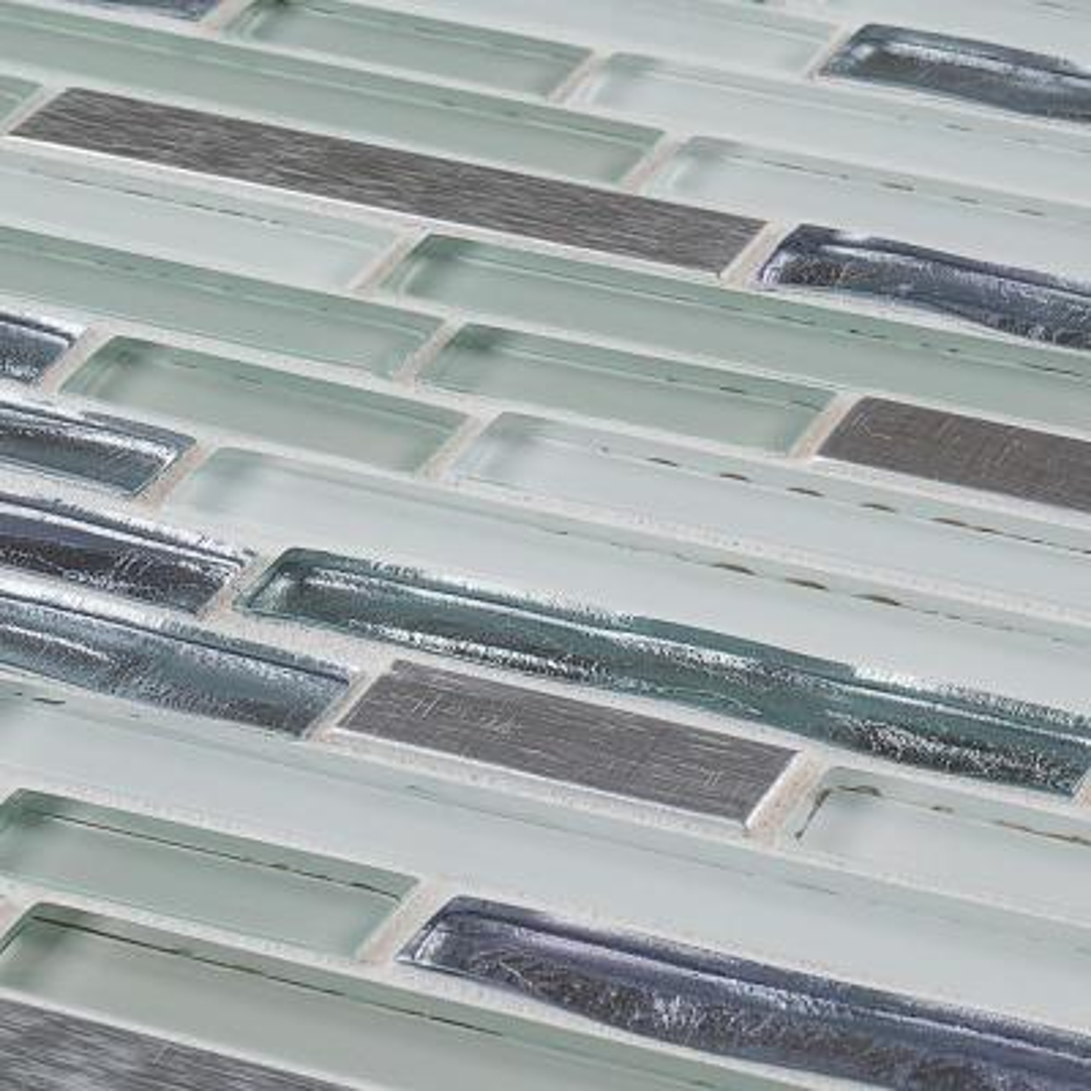 Fresh Taffy Blue 12 in. x 12.25 in. x 8 mm Interlocking Glass/Metal Mosaic Tile