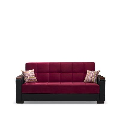 Armada 88 in. Burgundy/Black Microfiber 3-Seater Full Sleeper Convertible Sofa Bed with Storage