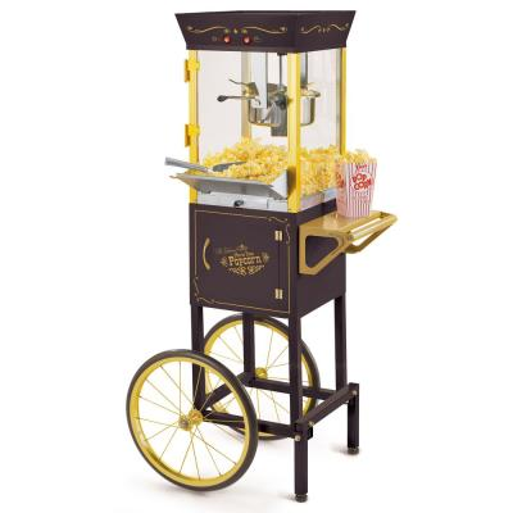 Vintage 8 oz. Black Popcorn Machine with Cart