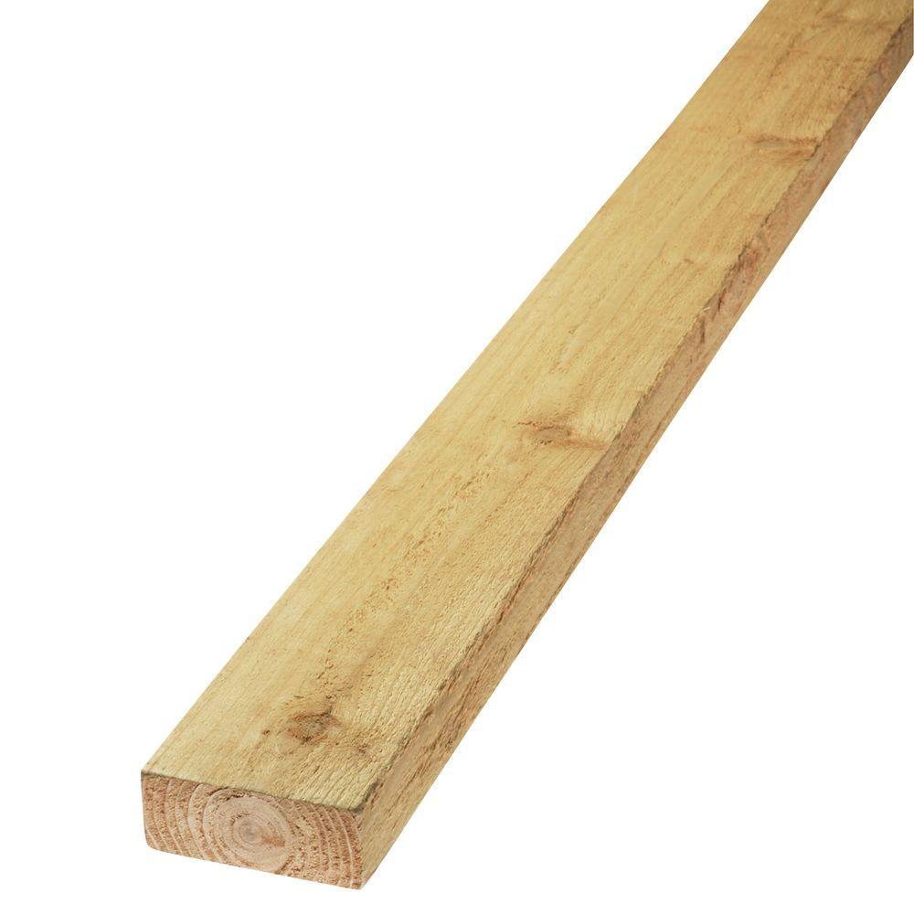 2 in. x 4 in. x 16 ft. Green Rough Knotty
