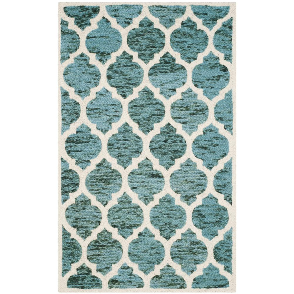 Safavieh Himalaya Turquoise 4 Ft X 4 Ft Round Area Rug: Safavieh Passion Turquoise/Ivory 4 Ft. X 5 Ft. 7 In. Area