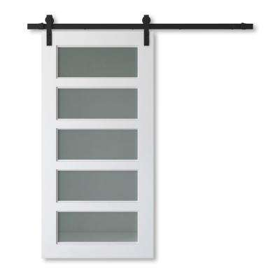 40 in. x 83 in. CHARLESTION Solid Core White Wood Modern Barn Door with Sliding Door Hardware Kit