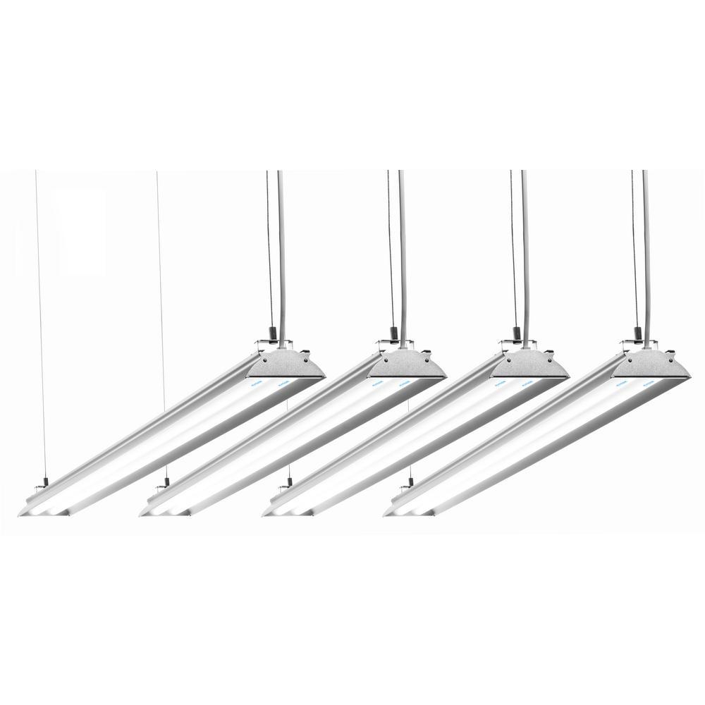 4 ft. 35-Watt (100-Watt Equivalent) Integrated LED Aluminium Shop Light 5000K Frosted Cover (4-Pack)