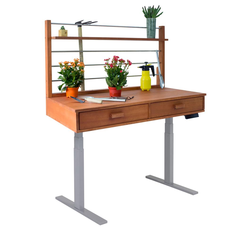 Vifah Sit to Stand 48 ft. x 26 ft. x 55 to 82 ft. Wood Potting Bench with  Grey Frame