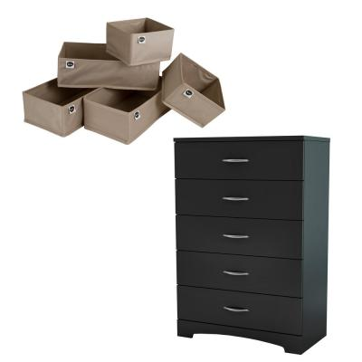 Step One 5-Drawer Pure Black and Beige Chest of Drawers